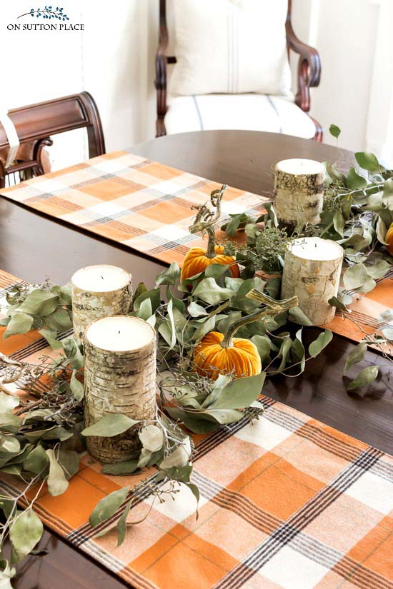 Eucalyptus garland diy fall decor #fallcenterpiece #falldecor #diy #falldecoration #thanksgiving #decorhomeideas
