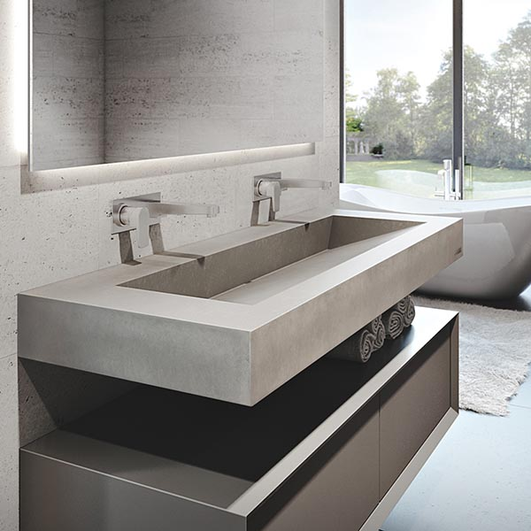 Floating concrete ramp sink #troughsink #bathroom #sink #concretesink #bathroomideas #decorhomeideas