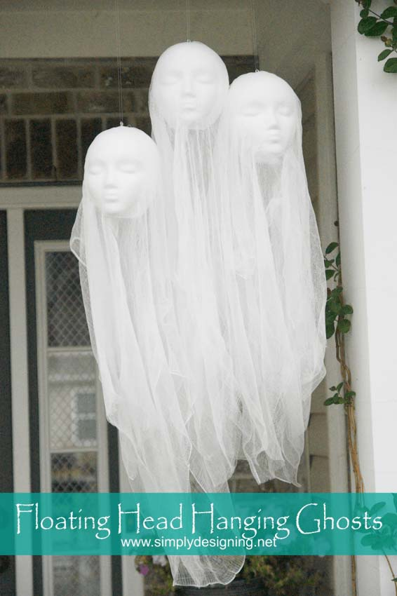 Floating head hanging ghosts Halloween #halloweendecorations #halloween #diyhalloween #halloweendecor #decorhomeideas