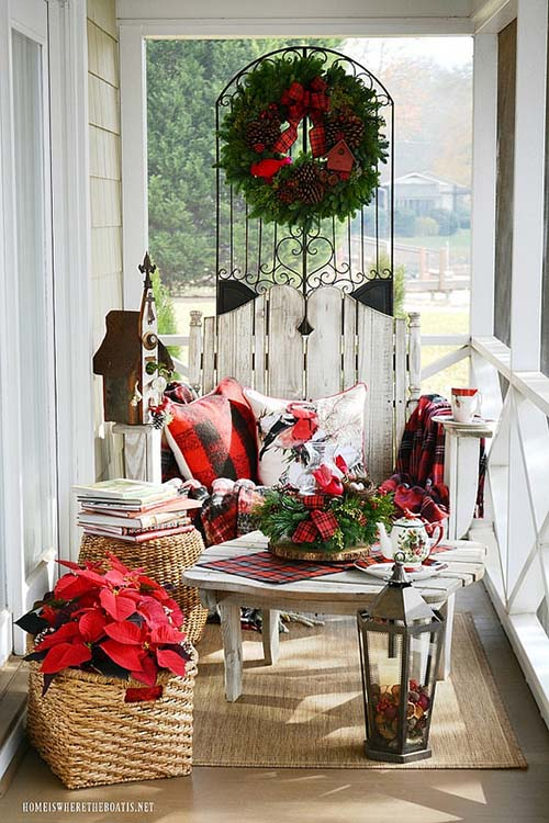 Front porch decor for Christmas #Christmasdecoration #Christmas #frontporch #porch #decoration #decorhomeideas