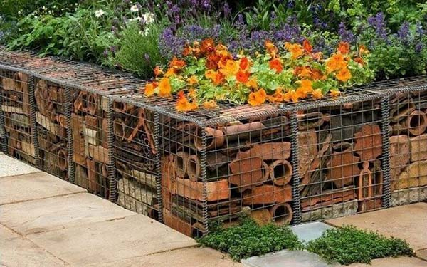 Gabion planter repurposed items #gabion #gabionplanter #flowerplanter #gardenideas #decorhomeideas