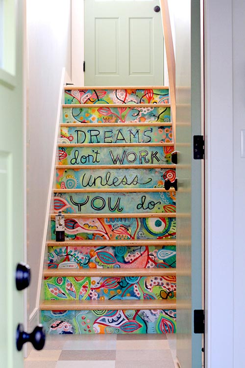 Kids art stairs decor #staircase #stairs #stairway #stairsdecoration #homedecor #decorhomeideas