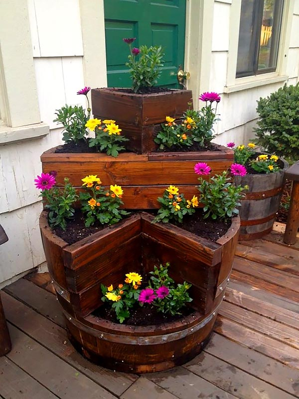 Old wine barrel big flower planter #diy #winebarrel #flowerplanter #repurpose #decorhomeideas