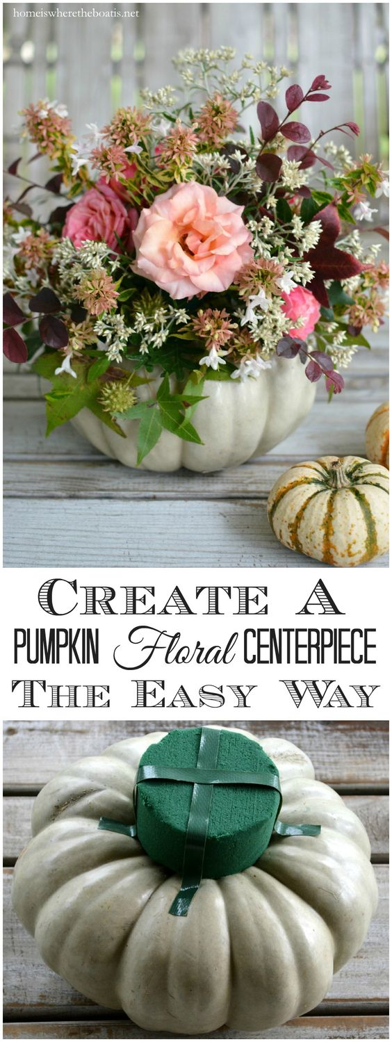 Pumpkin floral diy fall centerpiece #fallcenterpiece #falldecor #diy #falldecoration #thanksgiving #decorhomeideas #pumpkin