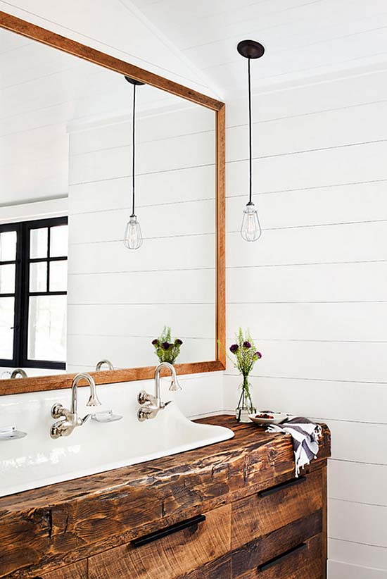 Reclaimed beam farmhouse trough bathroom sink #troughsink #bathroom #farmhouse #sink #decorhomeideas