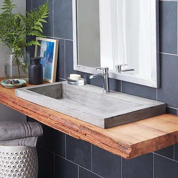 Rectangular concrete trough bathroom sink #troughsink #bathroom #sink #concretesink #bathroomideas #decorhomeideas