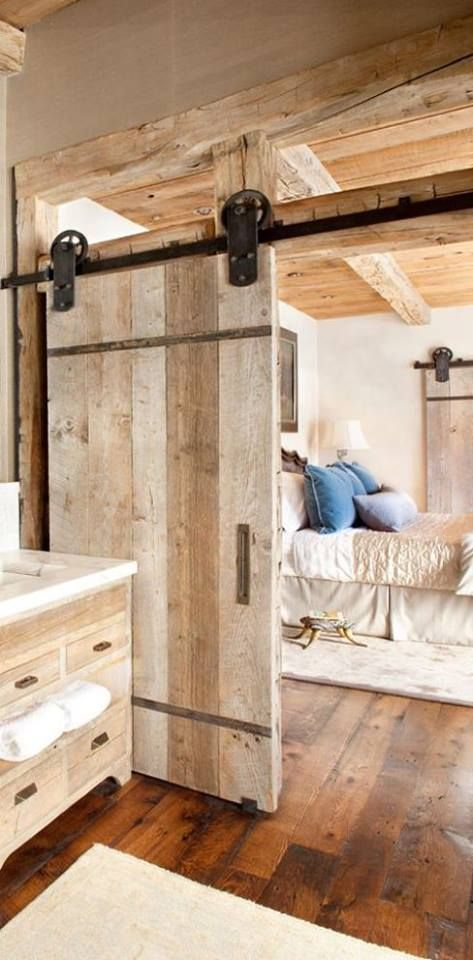 Bedroom sliding barn door #barndoor #bedroom #interior #homedecor #decorhomeideas