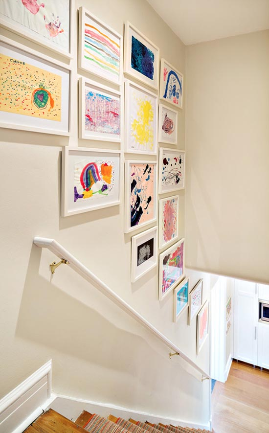 Staircase decoration kids art gallery #staircase #stairs #stairway #stairsdecoration #homedecor #decorhomeideas