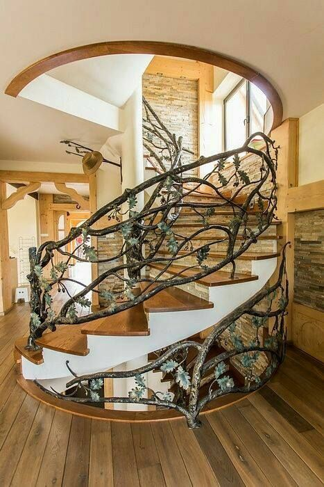 Staircase railing decoration ideas #staircase #stairs #stairway #stairsdecoration #homedecor #decorhomeideas
