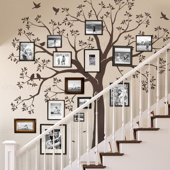 Tree decal family photos staircase decoration #staircase #stairs #stairway #stairsdecoration #homedecor #decorhomeideas