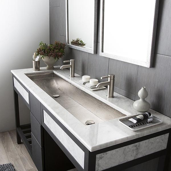 Stainless steel trough bathroom sink