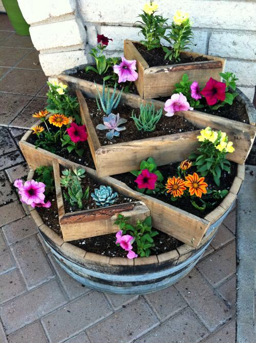 Wine barrel flower planter #diy #winebarrel #flowerplanter #repurpose #decorhomeideas