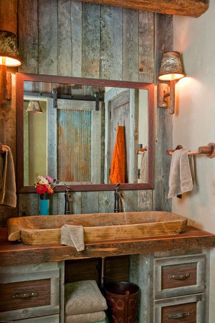 Wood trough bathroom sink #troughsink #bathroom #farmhouse #sink #decorhomeideas