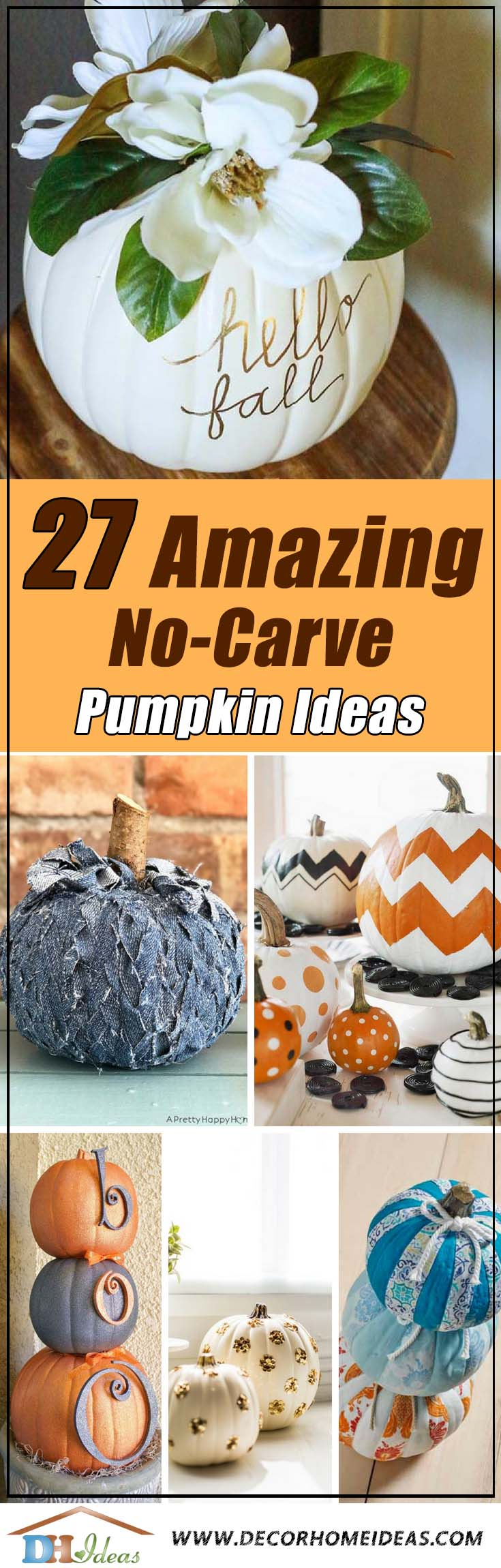 No-Carve Pumpkin Ideas #pumpkin #falldecor #nocarve #homedecor #decorhomeideas
