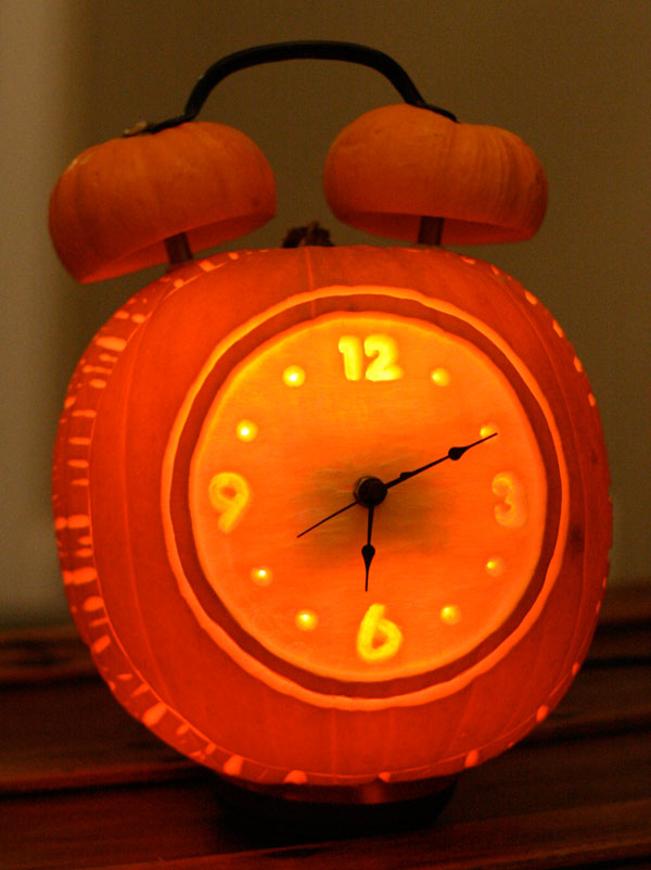 Alarm Clock Carved Pumpkin #pumpkin #carving #halloween #falldecor #decorhomeideas