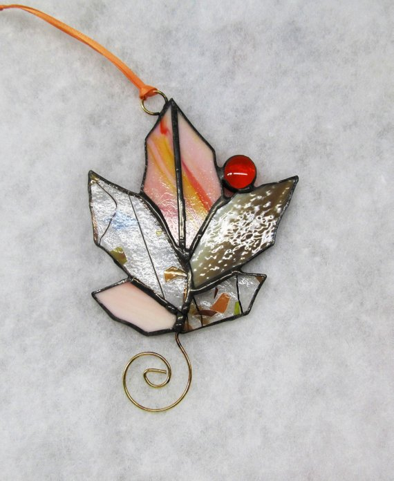 Autumn Glass Leaf #falldecor #etsy #fallideas #falldecoration #decorhomeideas
