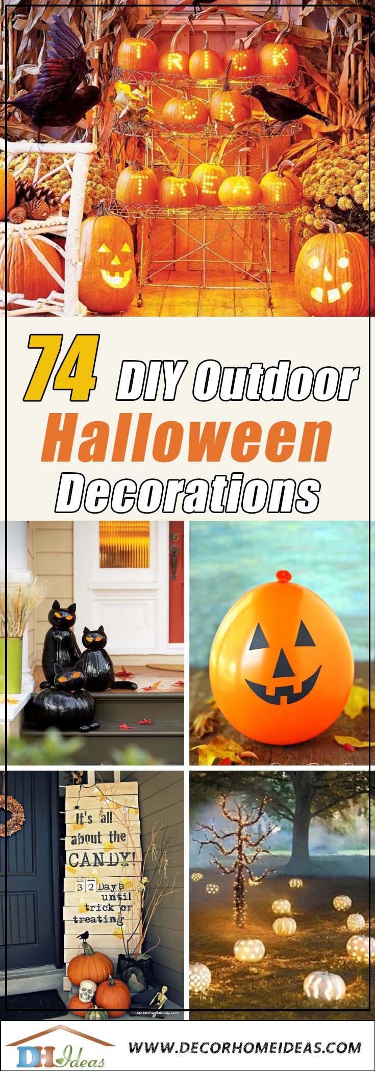 DIY Outdoor Halloween Decorations #halloweendecorations #halloween #diyhalloween #halloweendecor #decorhomeideas