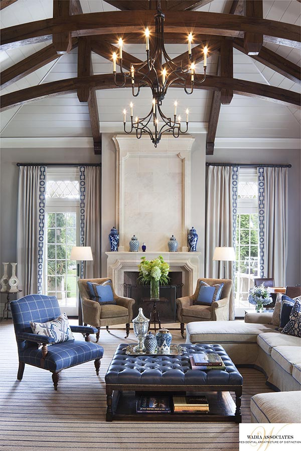 Blue navy living room with fireplace between doors #fireplacemantel #fireplace #mantel #homedecor #decorhomeideas