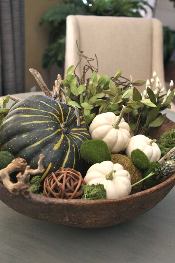 Bowl with pumpkins #pumpkindecor #centerpiece #falldecor #decorhomeideas