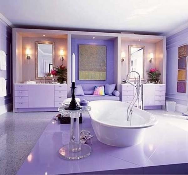 Center bathtub purple bathroom #purplebathroom #purple #bathroom #lavender #bathroomideas #decorhomeideas