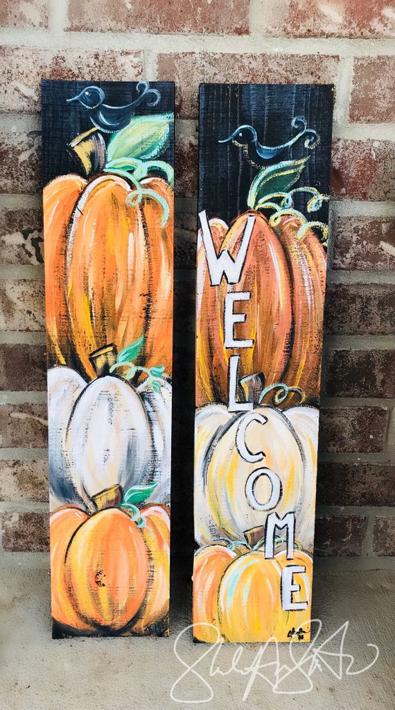 Chalk Paint Welcome Fall Sign #falldecor #etsy #fallideas #falldecoration #decorhomeideas