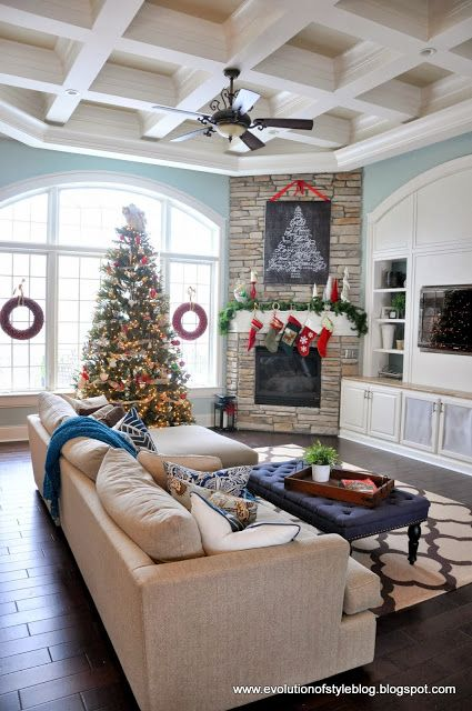 Corner fireplace decorated for Christmas #fireplace #fireplaceideas #corner #decorhomeideas