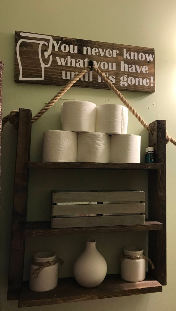 Country Bathroom Ladder Shelf Organizer #countrybathroom #countrydecor #bathroom #farmhouse #decorhomeideas