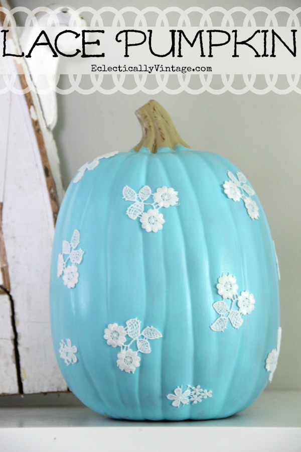 Decoupage Lace Pumpkin #pumpkin #falldecor #nocarve #homedecor #decorhomeideas