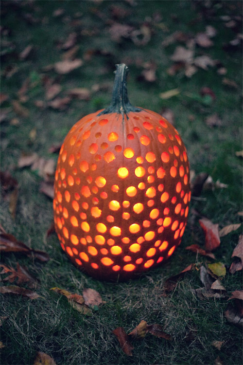 Drill Holes Carved Pumpkin #pumpkin #carving #halloween #falldecor #decorhomeideas