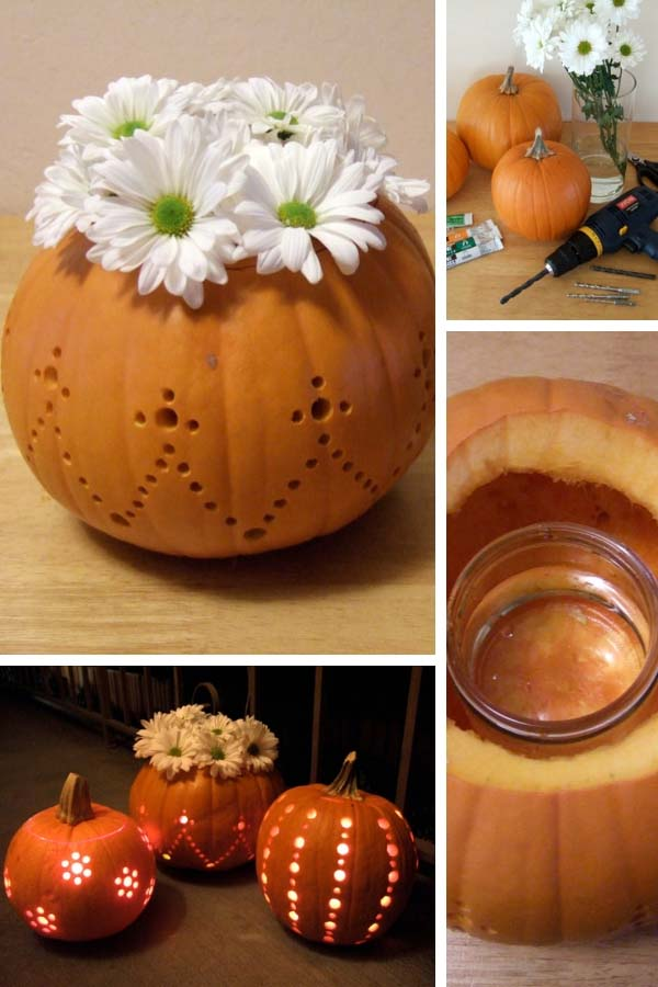 Drilled Pumpkin #pumpkin #carving #halloween #falldecor #decorhomeideas