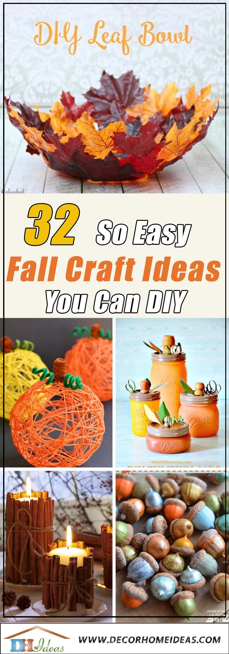 32 Easy Fall Craft Ideas #crafts #fall #falldecor #falldecorideas #decorhomeideas
