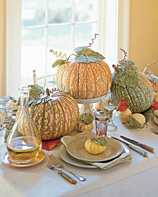 Embellished Pumpkins Fall Table Centerpiece #pumpkindecor #centerpiece #falldecor #decorhomeideas