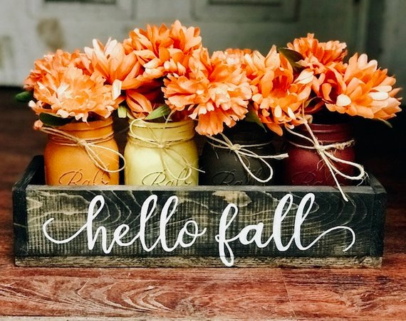 Fall Mason Jar Centerpiece #falldecor #etsy #fallideas #falldecoration #decorhomeideas