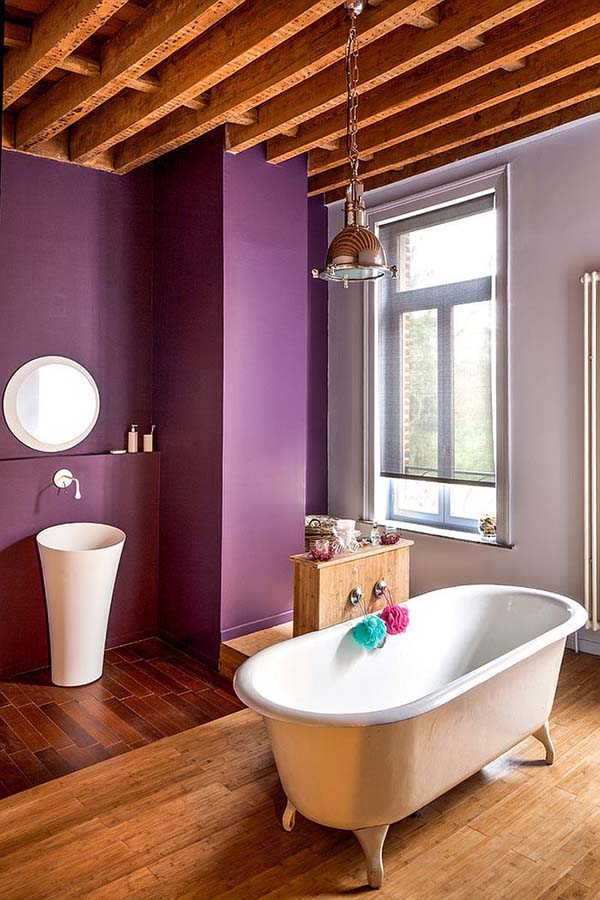 Farmhouse purple bathroom #purplebathroom #purple #bathroom #lavender #bathroomideas #decorhomeideas