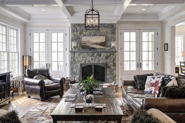 Fireplace mantel with doors on sides #fireplacemantel #fireplace #mantel #homedecor #decorhomeideas