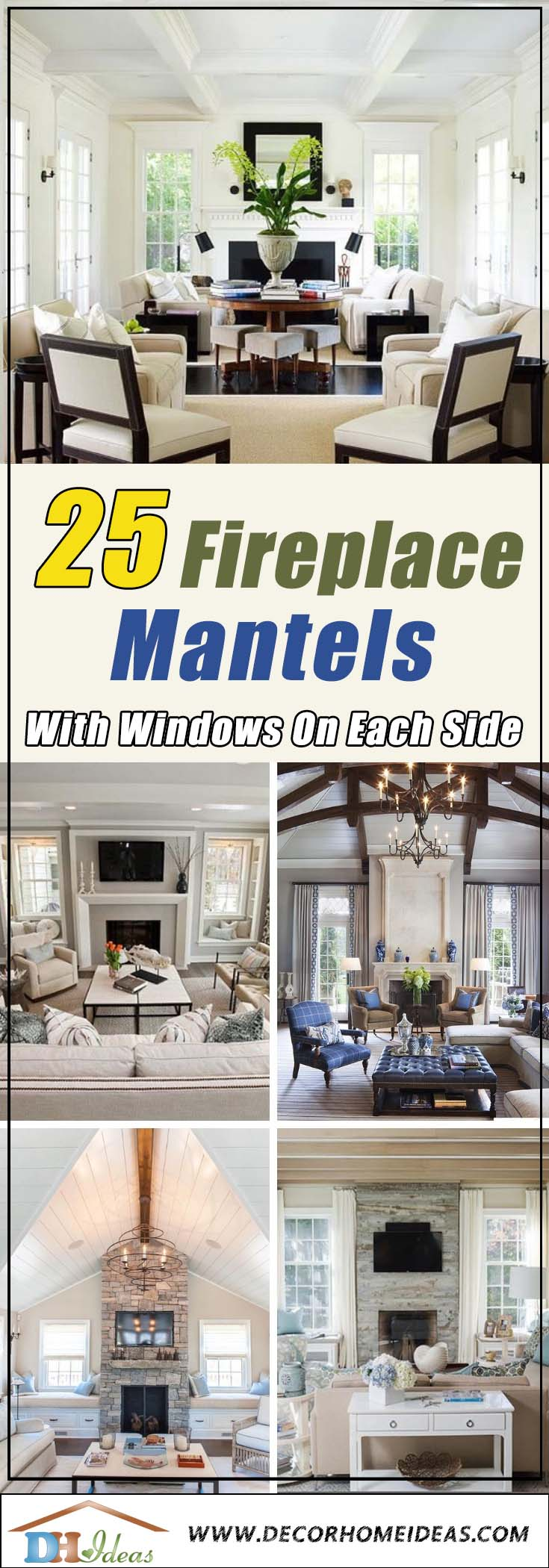 Fireplace mantel ideas with windows on each side. Mantels with seating or doors on both sides. #fireplacemantel #fireplace #mantel #homedecor #decorhomeideas