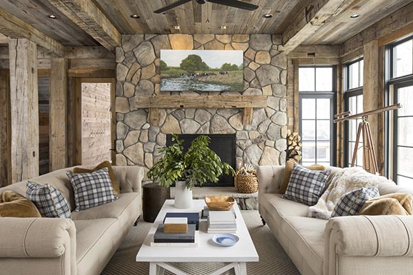 Fireplace mantel with windows on each side and doors #fireplacemantel #fireplace #mantel #homedecor #decorhomeideas