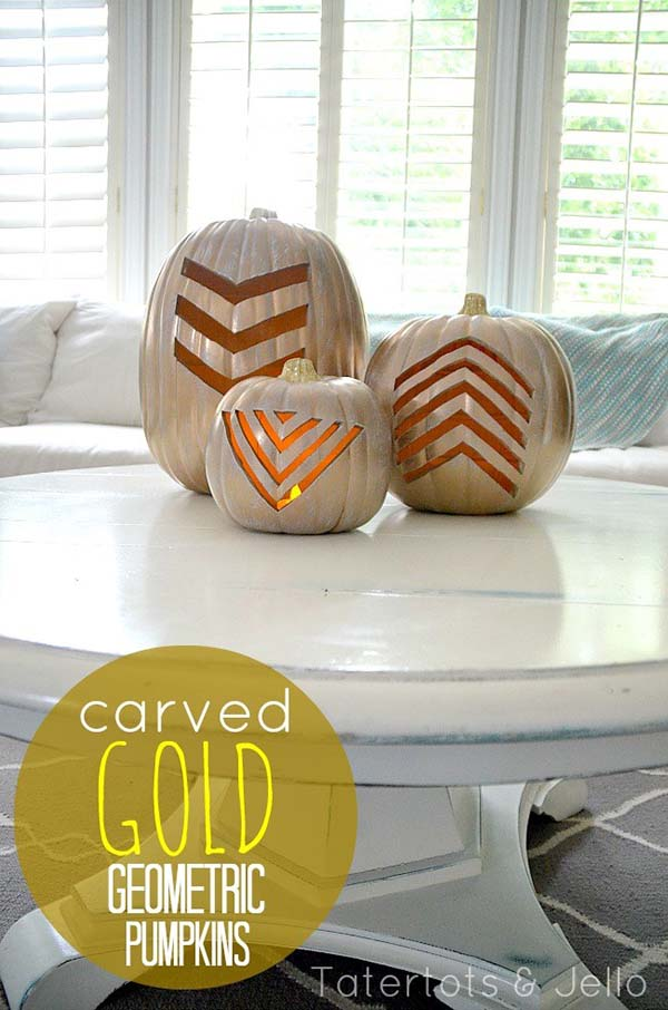 Gold Geometric Carved Pumpkins #pumpkin #carving #halloween #falldecor #decorhomeideas