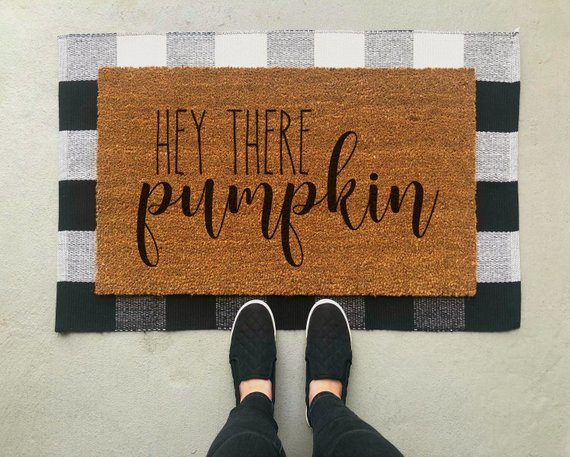 Hey There Pumpkin Doormat #falldecor #etsy #fallideas #falldecoration #decorhomeideas