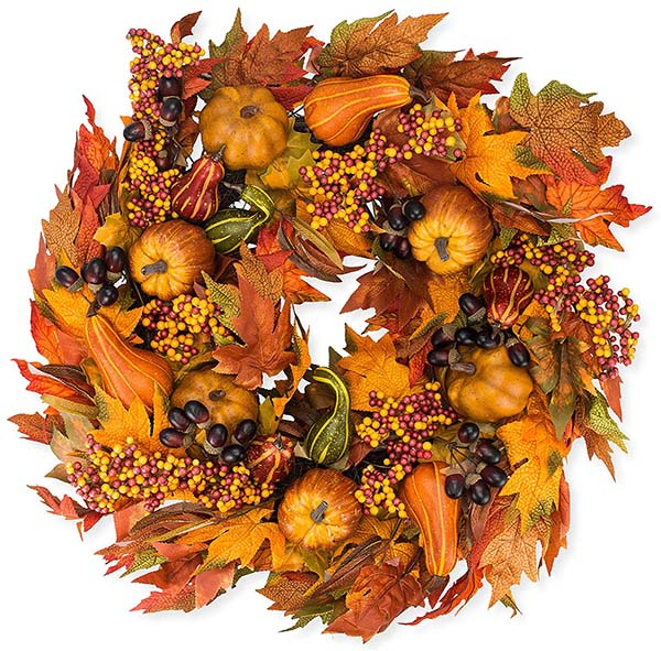 Hollow Silk Fall Wreath #wreath #falldecor #fallwreath #falldecoration #decorhomeideas
