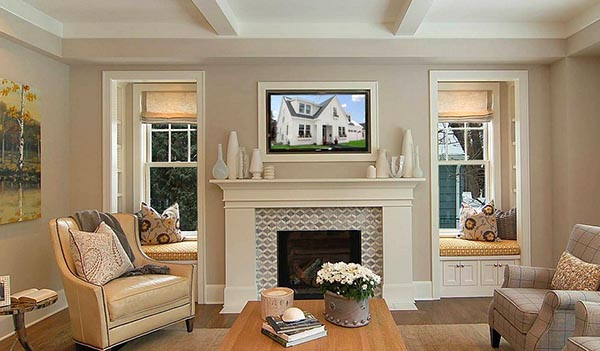Living room fireplace with side seating #fireplacemantel #fireplace #mantel #homedecor #decorhomeideas