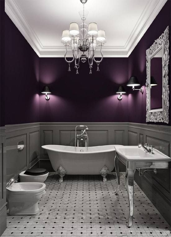 Luxury High End Purple Bathroom #purplebathroom #purple #bathroom #lavender #bathroomideas #decorhomeideas