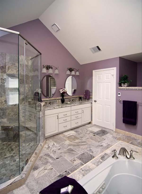 Marble and purple bathroom #purplebathroom #purple #bathroom #lavender #bathroomideas #decorhomeideas