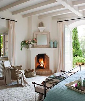 Mediterranean Living Room With Corner Fireplace #fireplace #fireplaceideas #corner #decorhomeideas