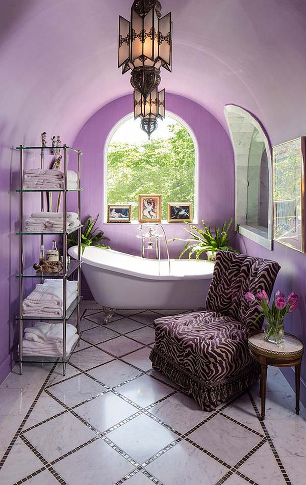 Mediterranean purple bathroom #purplebathroom #purple #bathroom #lavender #bathroomideas #decorhomeideas