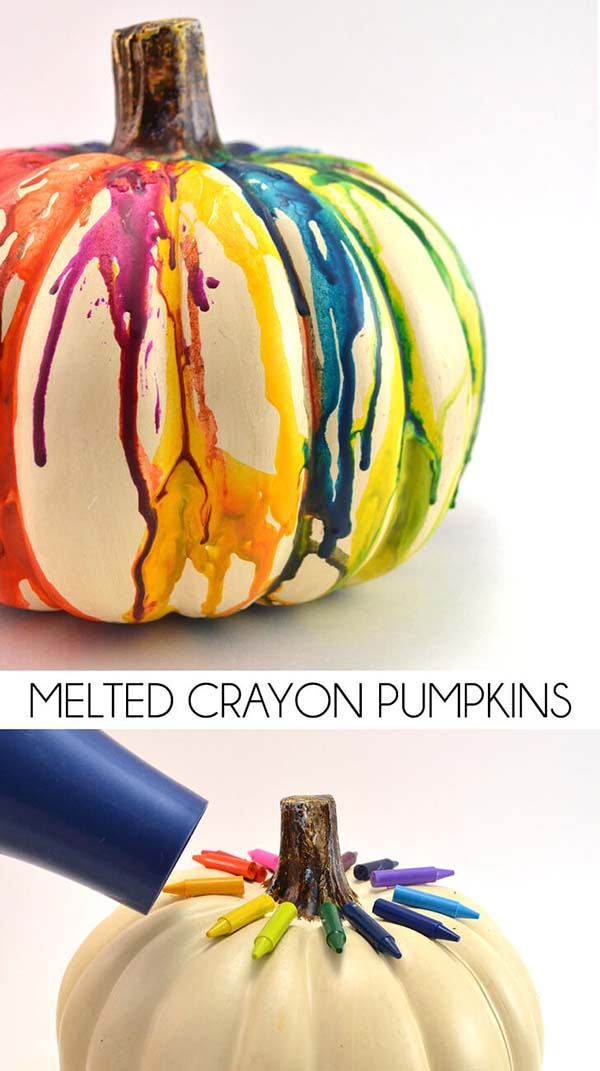 Melted Crayon Pumpkin Decoration #pumpkin #falldecor #nocarve #homedecor #decorhomeideas