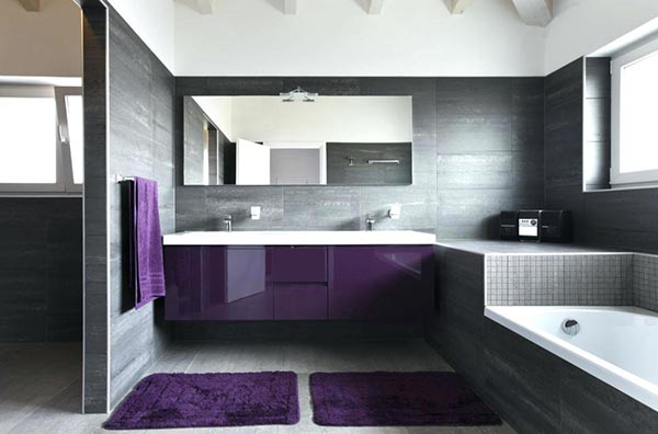 Modern purple bathroom design #purplebathroom #purple #bathroom #lavender #bathroomideas #decorhomeideas
