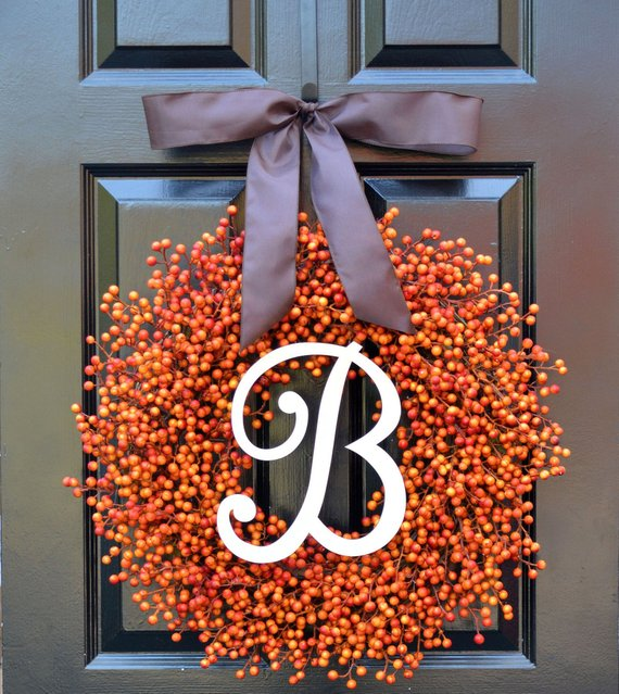 Monogram Fall Wreath #wreath #falldecor #fallwreath #falldecoration #decorhomeideas
