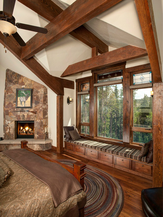 Mountain Log House Interior With Corner Fireplace and Reading Nook #fireplace #fireplaceideas #corner #decorhomeideas