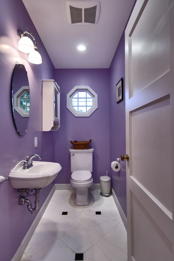 Narrow purple bathroom paint color #purplebathroom #purple #bathroom #lavender #bathroomideas #decorhomeideas